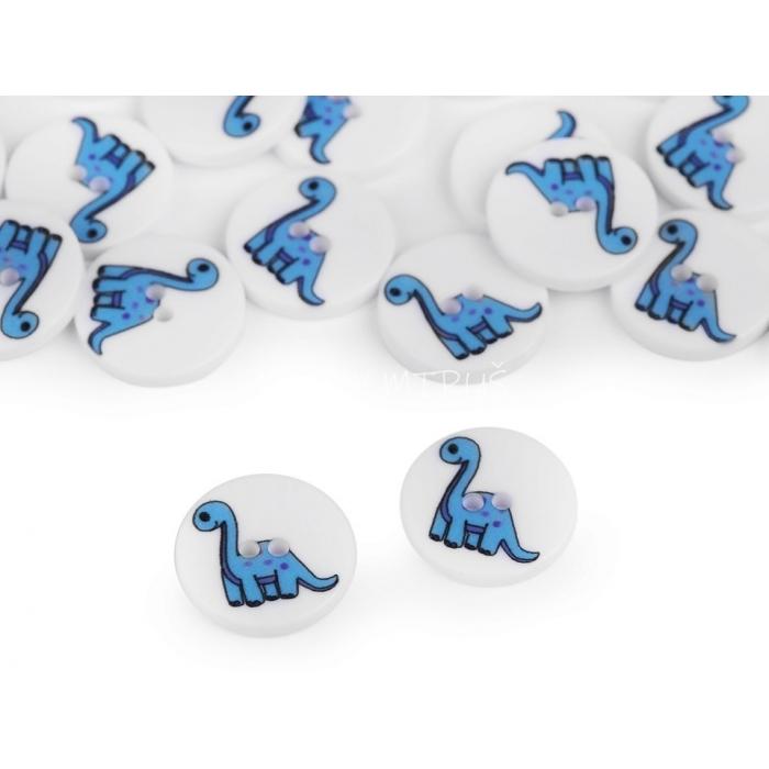 Knoflík 29 dino modrý