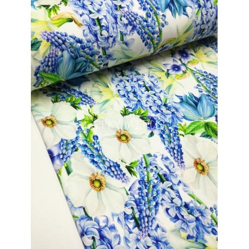 Teplákovina digi tisk - květy modré
