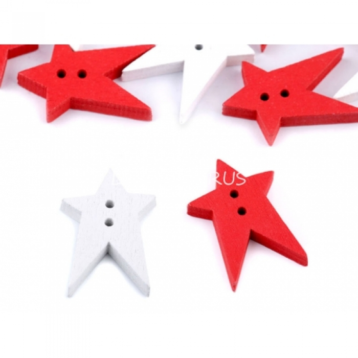 Knoflík 11 hvězda červená