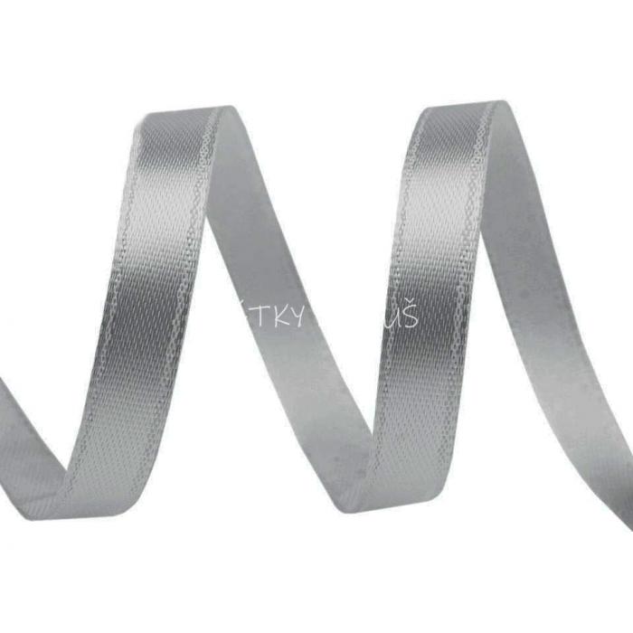 Atlasová stuha 6mm - šedá (5m)