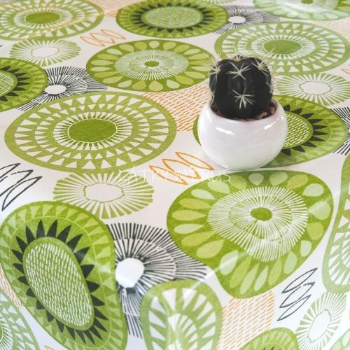 PVC ubrusovina - mandaly zelené