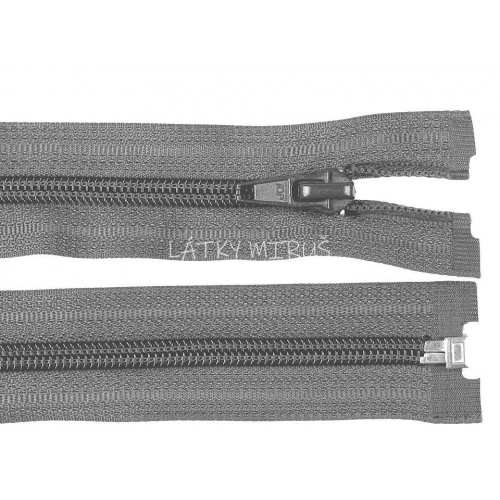 Spirálový zip šíře 5 mm délka 80 cm bundový šedý tm.