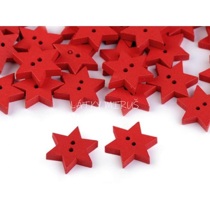 Knoflík 14 hvězda červená