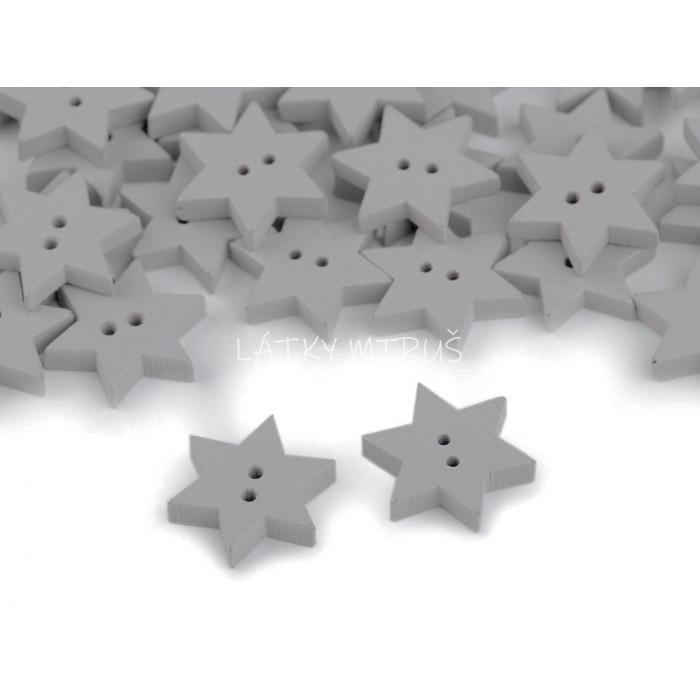 Knoflík 16 hvězda šedá