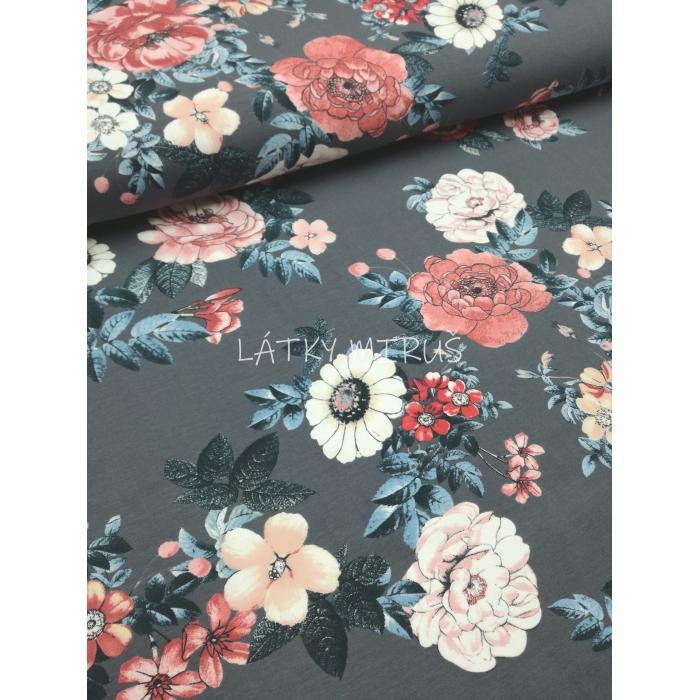 č.1623 úplet - květy na šedé
