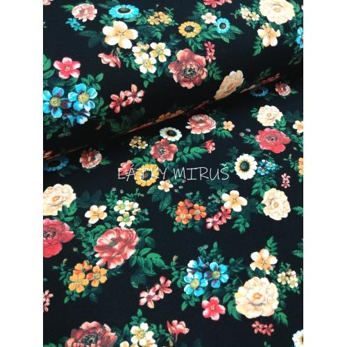 č.1619 úplet - květy na černé