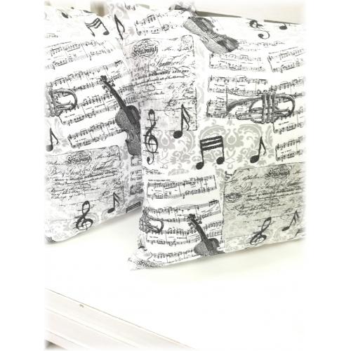 Povlak 40x40 noty - černobílé