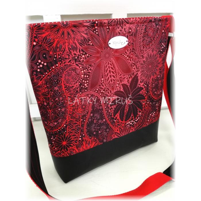 Crossbody - červené ornamenty