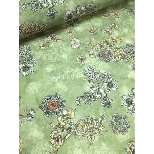 č.6026 květy na šedozelené