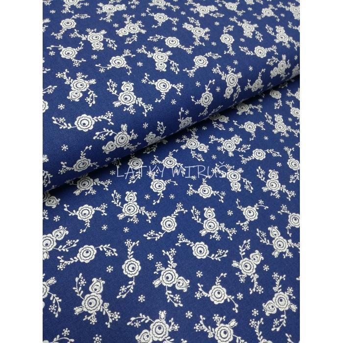 č.2123 venkovský květ na modré