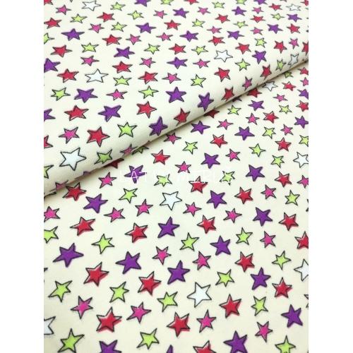 Úplet - hvězdy barevné na smetanové