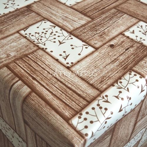 PVC ubrusovina - Dřevo s lístky