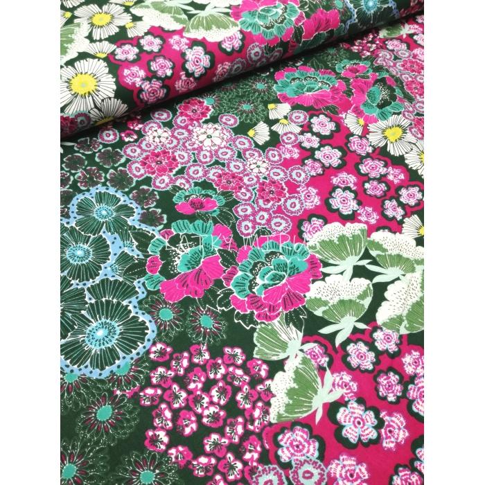 č.2883 květy na zelené