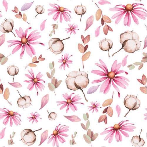 Úplet - bavlník s květy
