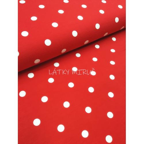 Bavlněný úplet puntík větší na červené