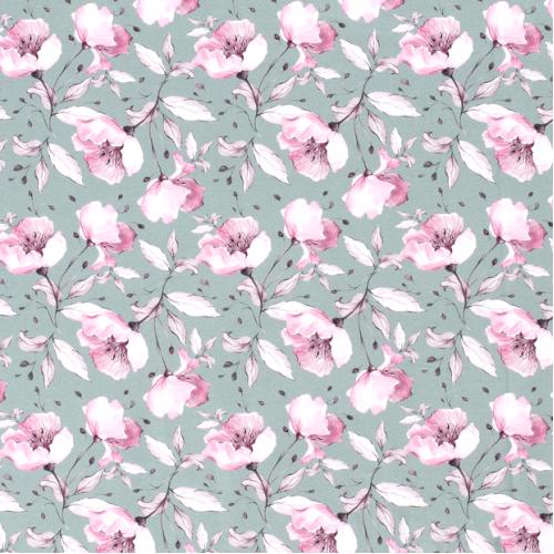 Úplet - květy na mentolové