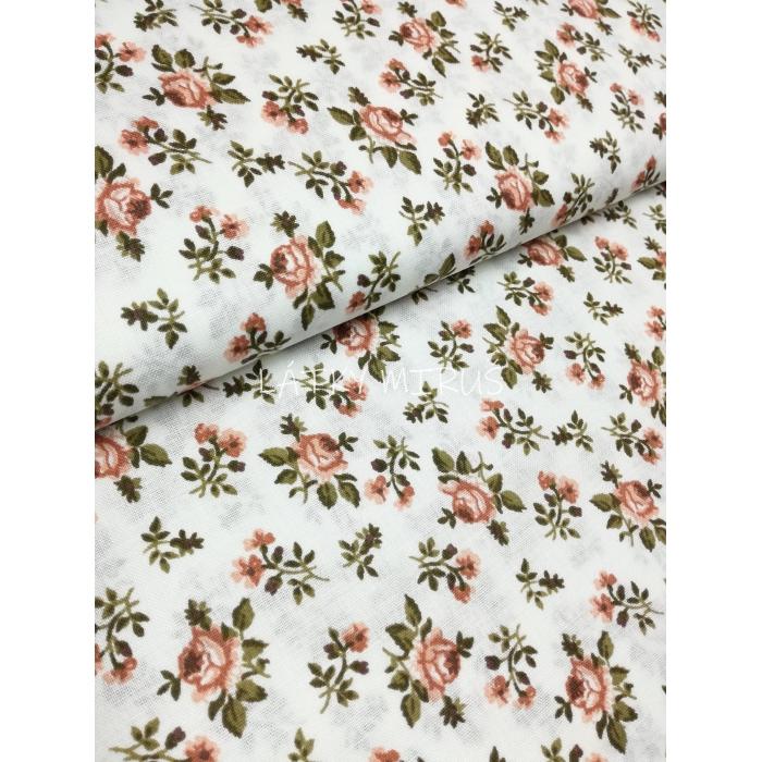 č.7127 vintage růžičky na bílé
