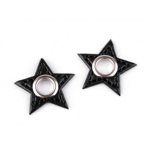 Průchodka s koženkovou hvězdou k našití - črná