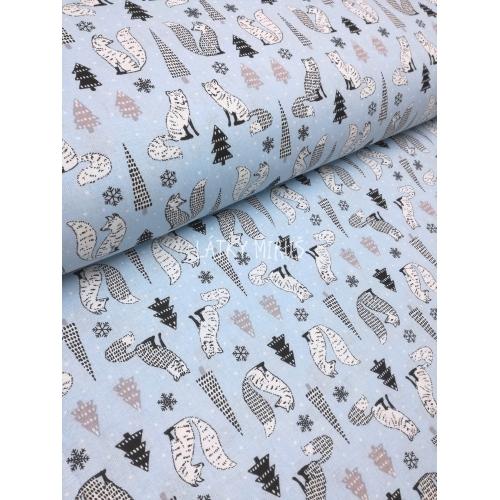 č.9084 polární lišky na modré