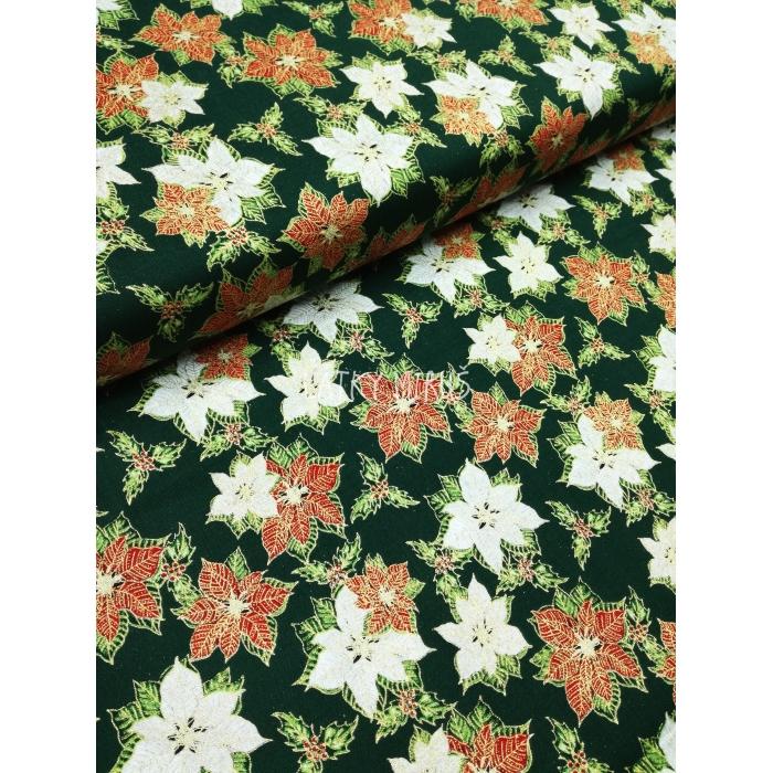 č.9069 vánoční růže na zelené