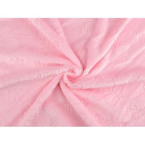 Plyš jemný - motýli na růžové