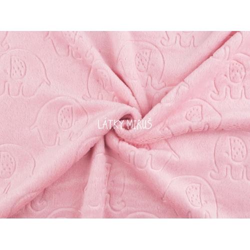 Plyš jemný - sloni na růžové
