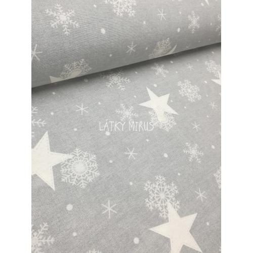 č.522 hvězdy s vločkami na šedé