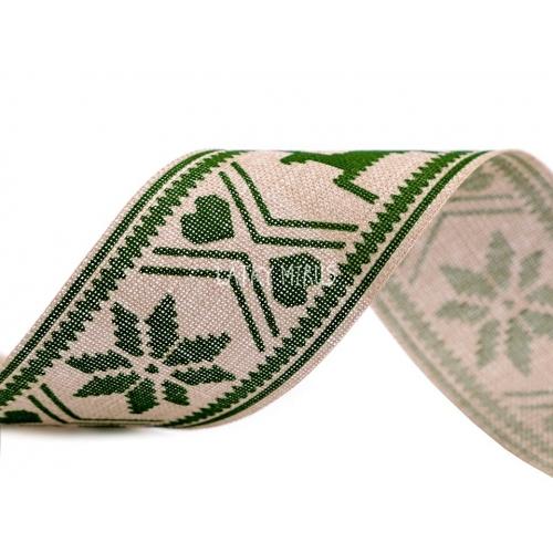 Vánoční stuha - vzor zelený