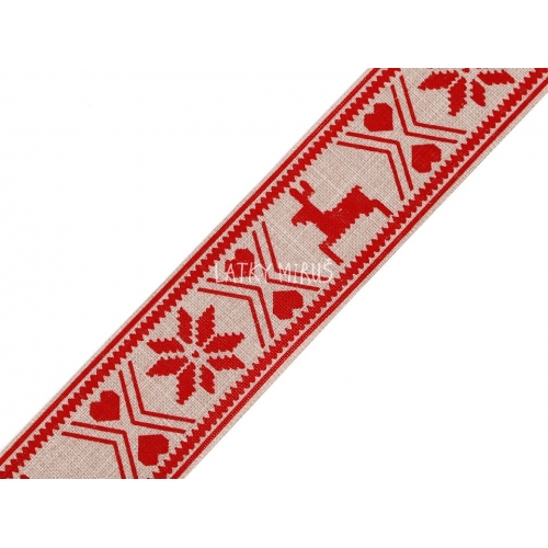Vánoční stuha - vzor červený
