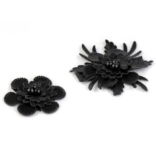 5a59ef5d95e Textilní 3D květ černý mix (2ks)