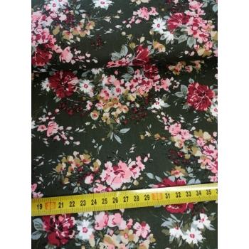 č.976 květy na zelené - popelín