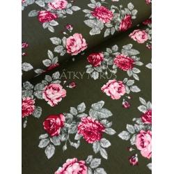 č.975 růže na zelené - popelín