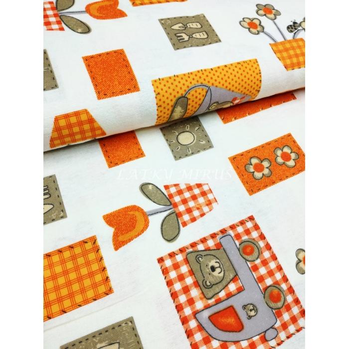 č.5652 flanel - medvědi oranžoví