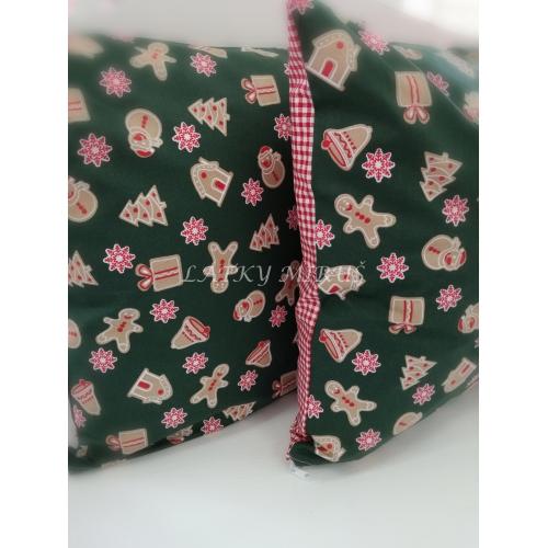 Povlak na polštář - perníčky na zelené
