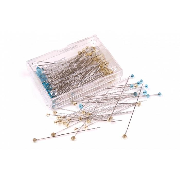 Špendlíky delší skleněná hlav. (cca 100ks)
