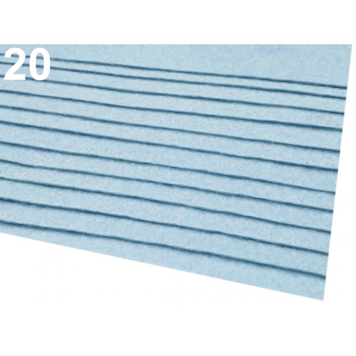Látková dekorativní plsť- SV.modrá