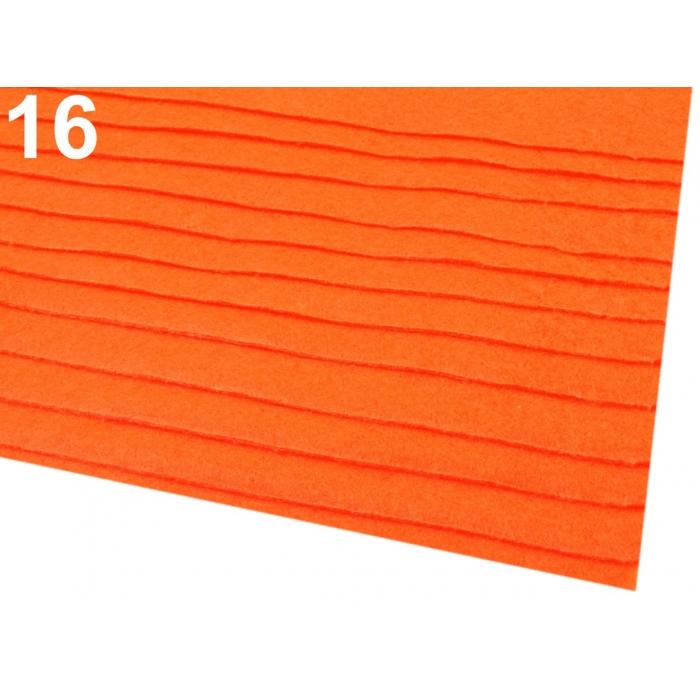 Látková dekorativní plsť - oranžová neon